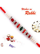 Red, Green, Silver, Beads American diamond Rakhi, only rakhi