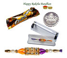 Velvet Simple Beads Rakhi for Bro - GAI14LD2907, only rakhi