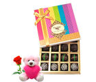 Chocholik Perfect Collection Dark Truffle With Teddy and Rose - Belgium Chocolates
