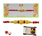 Lindt Excellence Orange Intense Rakhi Wishes - GAIR15, rakhi with imported chocolate tray