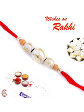 Silver and Gold Beads Mauli Thread Rakhi, only rakhi