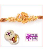 Om Rakhi With Roli Tikka And Card