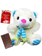Valentine Colorful Scarf Teddy With Chocolate