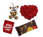 Red Rose Heat Cushion with Teddy And Bournville Raisin&Nut Chocolate.