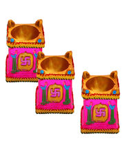 Set Of Three Tulsi Kund Earthen Diya, Set With Tray Of 10 Imported Assorted Chocolate Bars