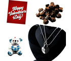 Glorious Heart Shaped Pendant with Sweet Teddy and Handmade Chocolates