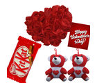Red Rose Heat Cushion with Teddy And Crispy Kit Kat