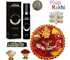 Branded Boutique Perfume & Rakhi Pooja Thali Combo 129, thali hamper with 400g sweets