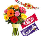 Choco Mix Delight With Flower Bunch