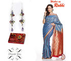 Gemstones Silver Earrings and Rich Pallu Saree sister Hamper, only hamper