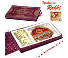 Premium Rakhi Gift Box with Soan Papdi and SHREE Rakhi thali
