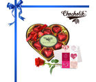 Chocholik 9pc Heart Shape Decorated Luxury Chocolates with Rose and Card