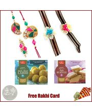 Family Rakhi Set with Haldiram Moti Choor Ladoo and...