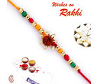 Floral Rudraksh Rakhi with colourful Beads, only rakhi