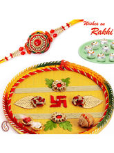 Hand Crafted Swastik Shagun Thali With Rakhi And Sweets, only thali with rakhi