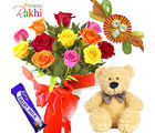 Cheerful Smile Teddy With Flower Bunch