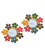 Pair Of Studded Multi Flowers Metal Diya, Set With Tray Of 10 Imported Assorted Chocolate Bars