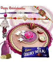 An elegant Rakhi Thali Hamper with Four Rakhis