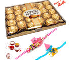 24 pc Ferrero Rocher Chocolate and set of 02 Kids Rakhi Hamper