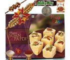 Jaipuri Soan Papdi Mithai & Exclusive Rakhi Gift 114, rakhi set with 400g sweets and 2 rakhi