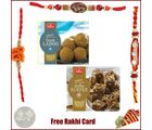 3 Rakhis with Haldiram Besan Ladoo and Dodha Burfee