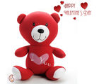 Bright Red I Love you plush polyfiber Valentine Teddy Bear