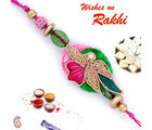 Pink Flower Zardosi Rakhi with Resham Work, set of two rakhis