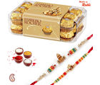 16 pc Ferrero Rocher Chocolate and set of 02 Rakhi Hamper
