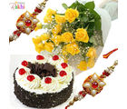 Rakhi Flowers With Cake