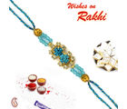 Double Row Colour stones and gold beads Jewel Rakhi, only rakhi