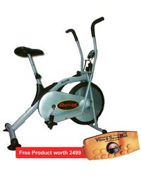 Pro Bodyline Exercise Cycle (Air Bike) With Rowing Facility+ Free Sauna Belt, standard-silver