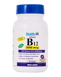 Healthvit Vitamin B12 Methylcobalmin 3000mcg 60 Tablets