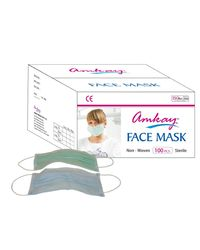 AMKAY Face Mask 2 ply Elastic / Loop Color Green Bulk Box (100 Pcs Per Box)