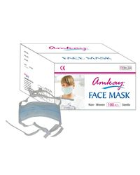 AMKAY Face Mask 3 ply Tie / Lace Color Green Bulk Box (100 Pcs Per Box)