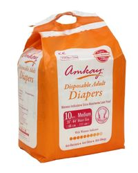 AMKAY Adult Diapers Medium Size (Pk of 10 Pcs)