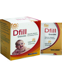 WestCoast Dfill Vitamin D3 Granules for Growing Kids Cholecalciferol 60000IU 20 Sachets - Pack of 2