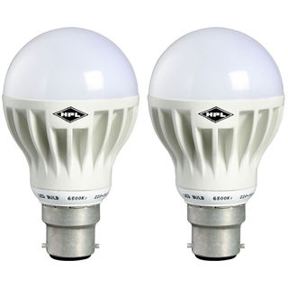 5W B22 LED Bulb (Yellow, Pack of 2)