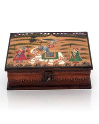 Little India Wooden Hand Painted Dhola Maru Jewellery Box 330,  cream