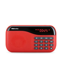 Portronics Plugs Speaker with FM and Memory card Slot, red