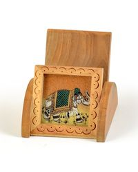Little India Gemstone painting Wooden Mobile Stand Gift -124, brown