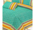 Pure Cotton Bed sheet in Aqua green with Gold and Mughal print, multicolor