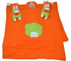 Handloomwala Rabbit Pillow Desgien Orange Baby Quilt Set (Orange)