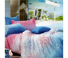 Pink And Blue Tie And Dye Design Pure Cotton Bed Sheet Set BS139112, multicolor