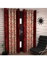 Story At Home Polyester 7 Feet 2 Pc Door Curtain (DTA1410), maroon