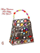 Hand Purse Design Multi Color Wrought Iron Tea Light Holder, Multicolor