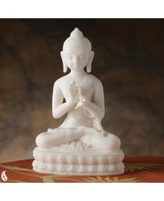 Teaching Buddha Sculpture Made In White Marble (White)
