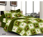 Welhouse India Flowering Double Bed Sheet With 2 Pillow Covers, green