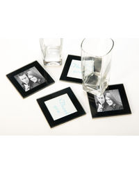 Importwala Glass Coaster/Frame Set Of 4 Pcs, black