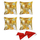 meSleep Set of 4 Merry Christmas Digitally Printed Cushion Cover (16x16) -With Free 2 Pcs,  yellow