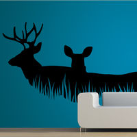 Creative Width Deer Couple Wall Decal, multicolor, small